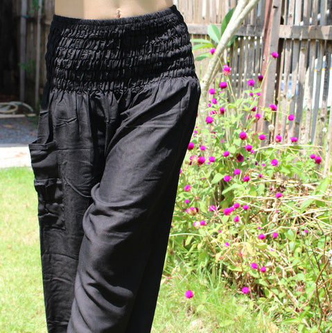 black solid color harem pants bohemian island