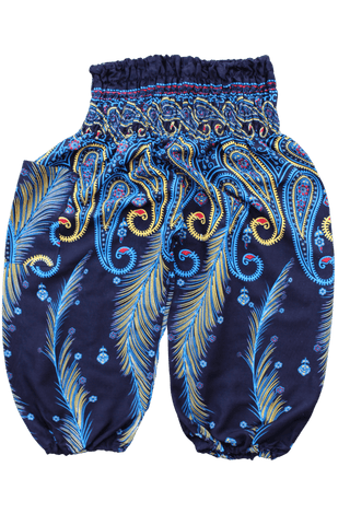 Blue Feather Kids Harem Pants. Bohemian pants for children from Bohemian Island