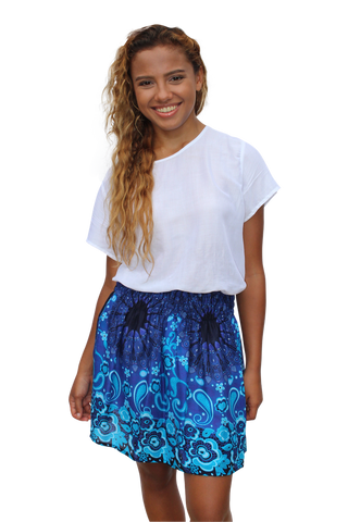 blue mandala short mini skirt bohemian island