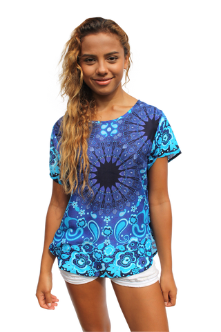 blue mandala womens cotton shirt bohemian island