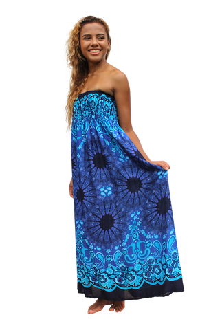 blue mandala womens maxi dress bohemian island