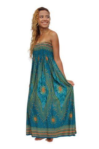 blue orchid peacock womens maxi dress bohemian island