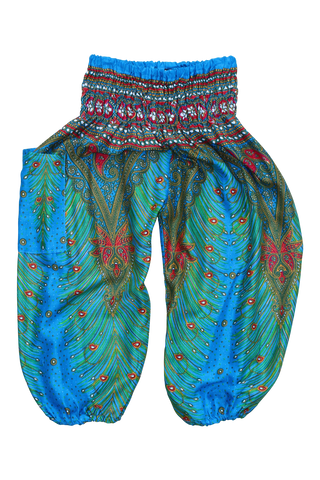blue peacock kids harem pants bohemian island