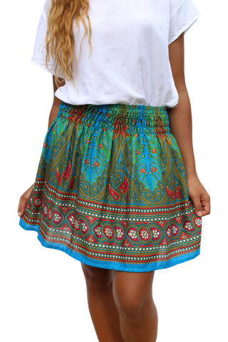 blue peacock short mini skirt bohemian island