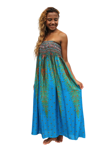blue peacock womens maxi dress bohemian island