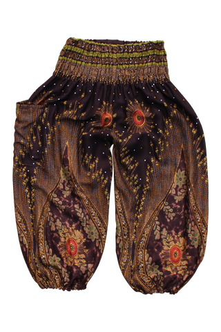brown peacock kids harem pants bohemian island