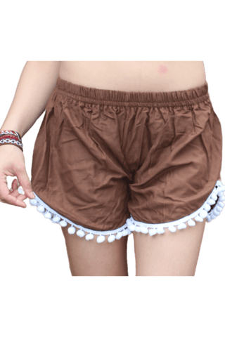 Brown pompom shorts. Boho shorts from Bohemian Island
