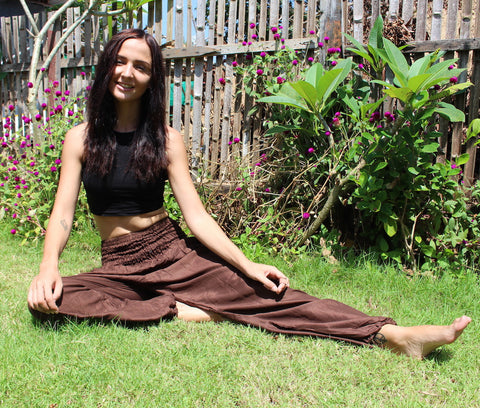 brown solid color harem yoga pants bohemian island