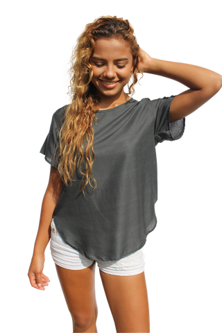 dark gray womens cotton shirt bohemian island