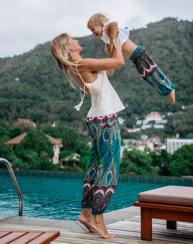 Green Flare Kids Harem Pants from Bohemian Island
