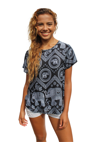 mahakala elephant womens cotton shirt bohemian island