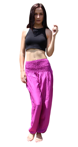 majenta solid color harem yoga pants bohemian island