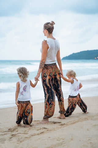 Orange Feather Kids Harem Pants from Bohemian Island