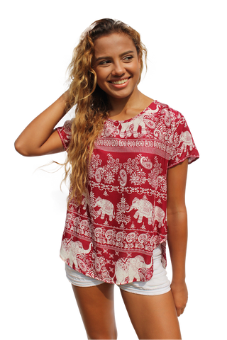 peerada elephant womens cotton shirt bohemian island