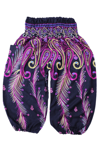 Pink Feather Kids Harem Pants from Bohemian Island