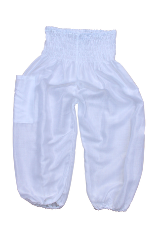 plain white kids harem pants bohemian island