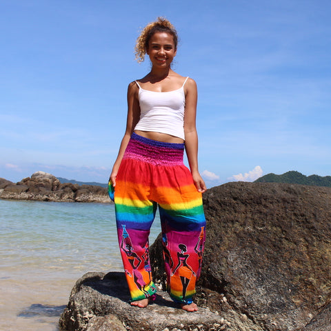 purple rainbow tribal harem pants bohemian island