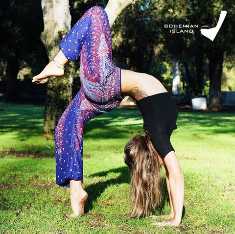 Purple Peacock Harem Yoga Pants Bohemian Island