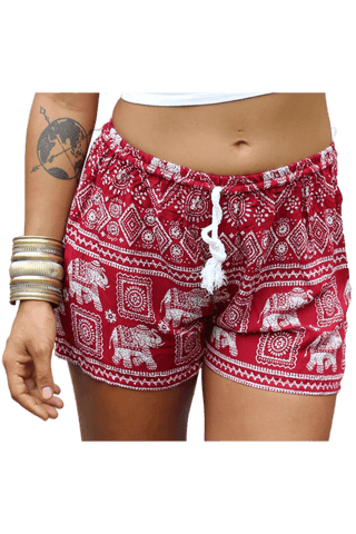 Red Elephant shorts. Cotton clothing from Bohemian Island