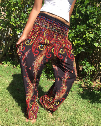 red feather harem pants bohemian island