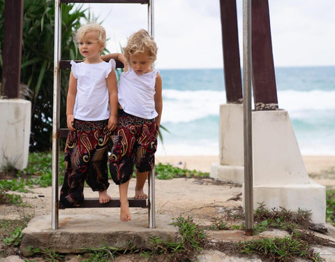 Red Feather Kids Harem Pants from Bohemian Island
