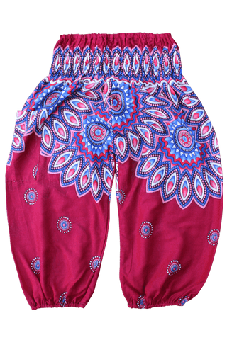 Red Floral Kids Harem Pants from Bohemian Island