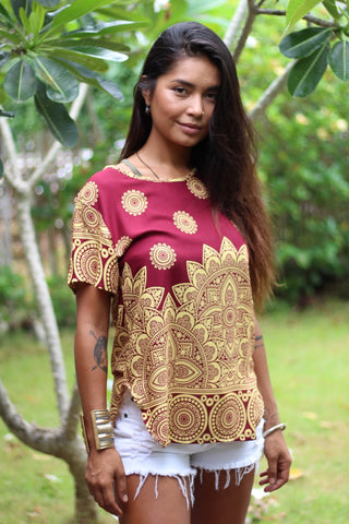 Red & Gold Mayflower Women's Shirt from Bohemian Island. Made from 100% cotton