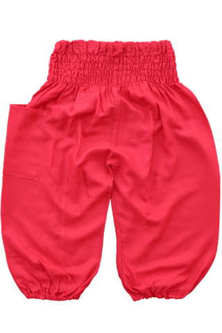 Plain Red Kids Harem Pants. Bohemian pants for children from Bohemian Island