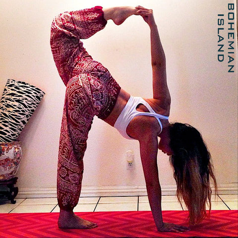 Red Aztec Thai Harem Yoga Pants Bohemian Island