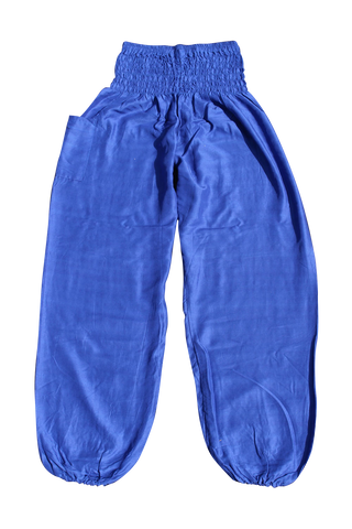 royal blue solid color harem pants bohemian island