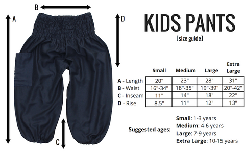 Size Guide Kids Harem Pants from Bohemian Island