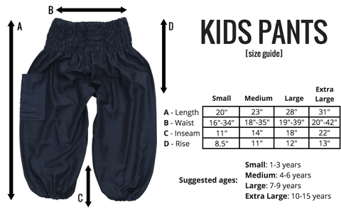 Size Guide for the Kids Harem Pants at Bohemian Island