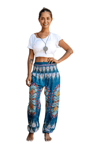 Teal Blossom Harem Pants from Bohemian Island Spring 2019 Collection