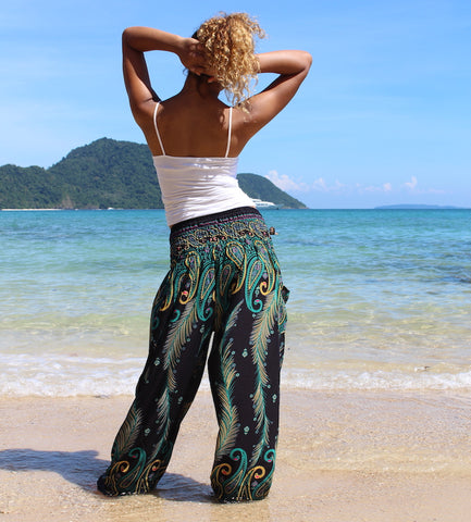 teal feather harem pants bohemian island