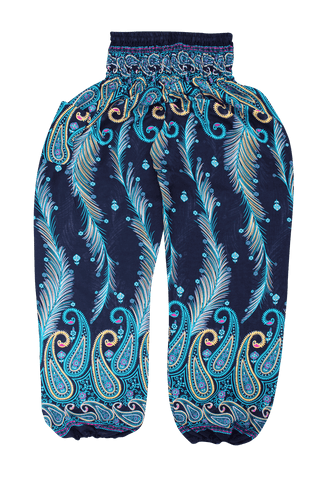 Teal Feather Harem Pants