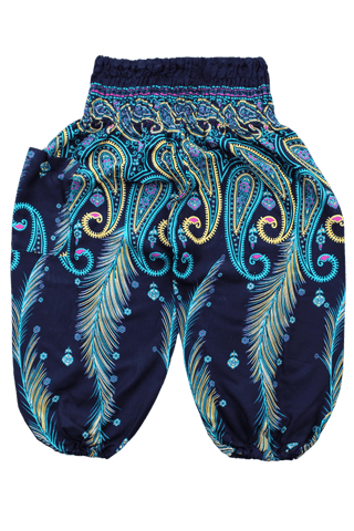Teal Feather Kids Harem Pants, Bohemian pants for children from Bohemian Island