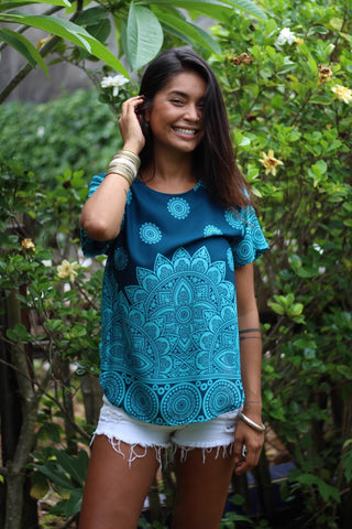 Teal Mayflower Women's Shirt from Bohemian Island. 100% cotton bohemian shirts made in Thailand