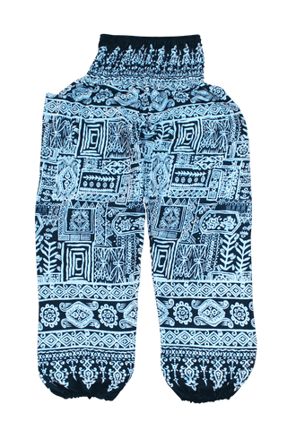 Turquoise Aztec Harem Pants from Bohemian Island. Comfy bohemian pants.