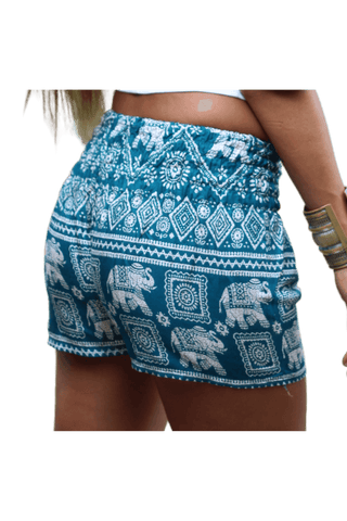 Turquoise Elephant hot pants. Bohemian style elephant shorts from Bohemian Island