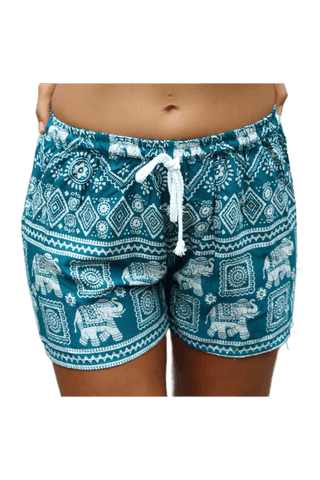 Turquoise Elephant shorts. Cotton clothing from Bohemian Island