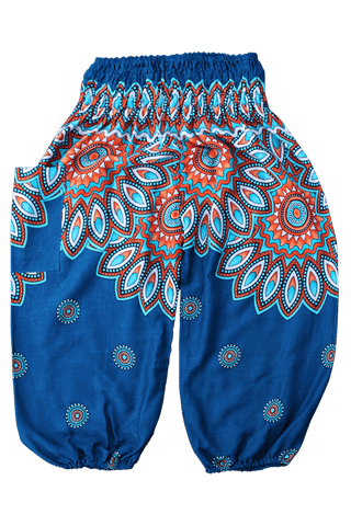 Turquoise Floral Kids Harem Pants from Bohemian Island