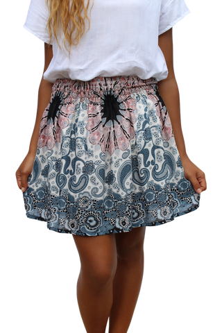 white mandala short mini skirt bohemian island