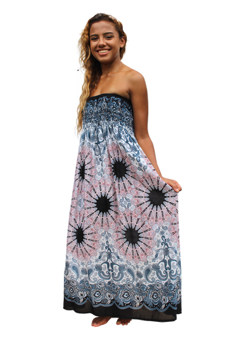 white mandala womens maxi dress bohemian island