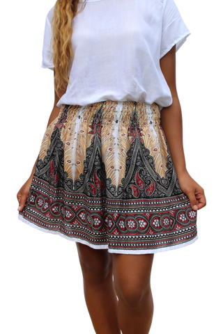 white peacock short mini skirt bohemian island