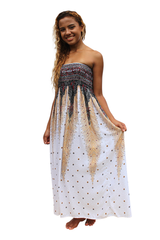 white peacock womens maxi dress bohemian island