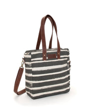 Load image into Gallery viewer, COMMUTER TOTE - STRIPES CHARCOAL
