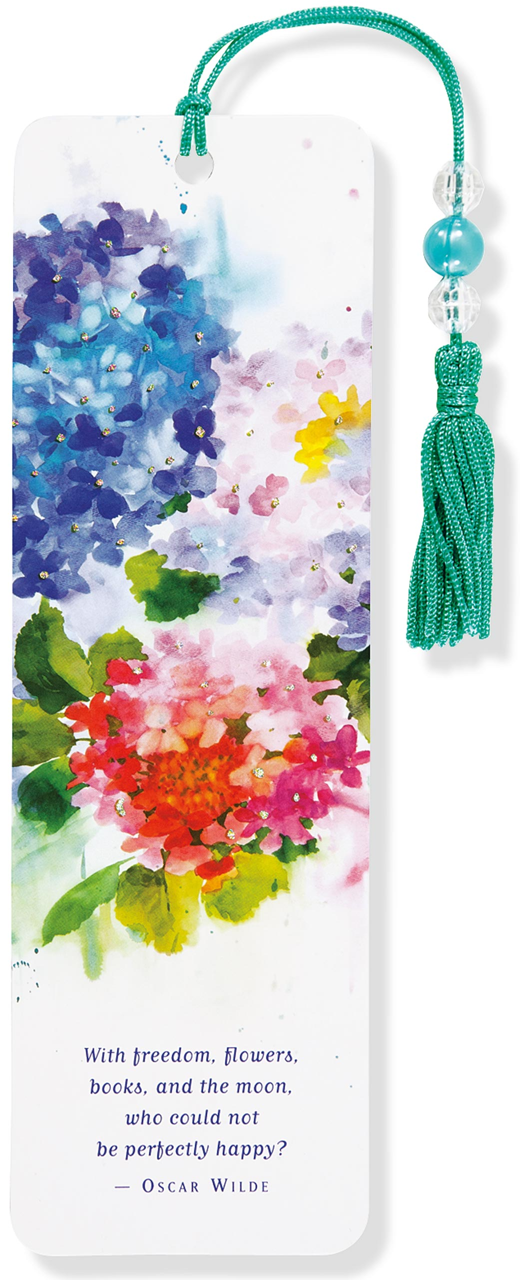 Hydrangeas Beaded Bookmark - Oscar Wilde
