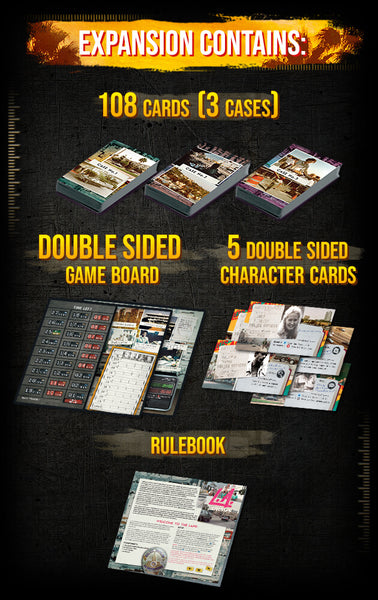Expansion contains 108 cards, dobule sided game board, 5 double sided character cards & rulebook