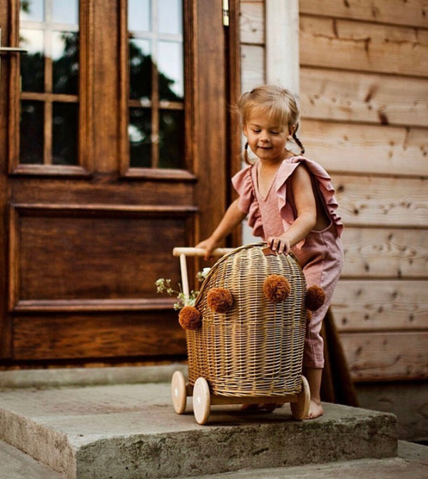 Wicker Dolls Pram - Natural
