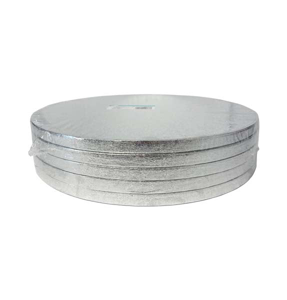 "12"" inch Round Silver Cake Drum (5 Pack)"